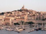 Across the Vieux Port to Basilica of Notre Dame De La Garde  Provence-Alpes-Cote-D'Azur  France