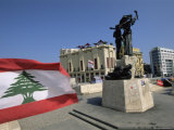 Lebanese Flag and the Martyrs Statue in the Bcd  Lebanon  Middle East