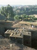 Sunken  Rock-Hewn Christian Church  in Rural Landscape  Unesco World Heritage Site  Ethiopia