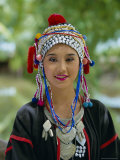 Portrait of an Akha Hill Tribe Woman in Traditional Clothing  Mae Hong Son Province
