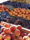 Fruit  Peaches and Grapes  for Sale on Market in the Rue Ste Claire  Rhone-Alpes  France