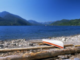 Upturned Canoe on the Rocky Eastern Shore of Slocan Lake  New Denver  British Columbia  Canada