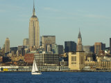 The Empire State Building and Midtown Manhattan Skyline Across the Hudson River  New York City