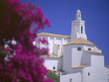 Bourgainvillea Flowers and White Christian Church  Cadaques  Costa Brava  Catalonia  Spain