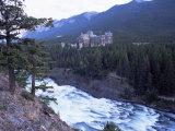 Banff  the Bow Falls and Prestigious Banff Springs Hotel  at Dusk  Alberta  Canada
