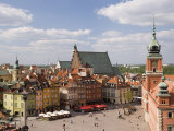 Elevated View Over the Royal Castle and Castle Square  Old Town  Warsaw  Poland