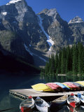 Canoes for Hire on Shore of Moraine Lake  Alberta  Canada