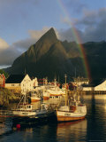 Rainbow Over Colourful Fishing Village of Hamnoy  Moskenesoya  Lofoten Islands  Nordland  Norway