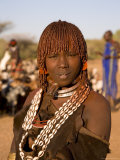 Portrait of a Young Hamer Woman with Goscha  Hamer Tribe  Southern Ethiopia