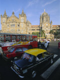 Traffic in Front of the Station  Victoria Railway Terminus  Mumbai  Maharashtra State  India