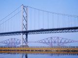 Firth of Forth Bridges  1964 Road Suspension Bridge  1890 Rail Bridge  Scotland  UK