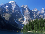 View to the Wenkchemna Peaks from the Shore of Moraine Lake  Banff National Park  Alberta  Canada