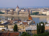 Houses and Church in Buda and the Parliament Building in Pest in Budapest