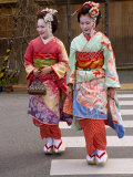 Maiko Walking in the Streets of the Gion District Wearing Kimono and Okobo  Island of Honshu  Japan