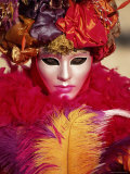 Head and Shoulders Portrait of a Person Dressed in Carnival Mask and Costume  Veneto  Italy
