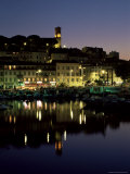 View Across Harbour to the Old Quarter of Le Suquet  at Night  Cannes  French Riviera  France