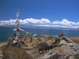 Prayer Flags Over Sky Burial Site  Lake Manasarovar (Manasarowar)  Tibet  China