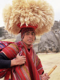 Portrait of a Young Peruvian Man in Traditional Dress  Near Cuzco  Peru