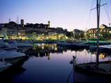 View Across Harbour to the Old Quarter of Le Suquet  at Dusk  Cannes  French Riviera  France