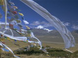 Prayer Flags on Top of Low Pass on Barga Plain  with Mount Kailas (Kailash) Beyond  Tibet  China