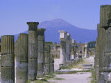 Mount Vesuvius Seen from the Ruins of Pompeii  Campania  Italy