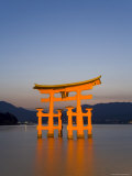 Shinto Shrine Illuminated at Dusk  Island of Honshu  Japan