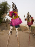 Masked Ceremonial Dogon Dancers on Stilts Near Sangha  Mali  West Africa