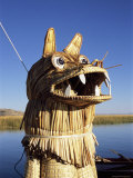 Detail of Decoration on Traditional Reed Boat  Lake Titicaca  Peru