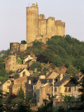 The Castle Towering Above Village Houses  in Early Morning Light  Najac  Midi-Pyrenees  France