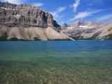 View Across Turquoise Waters of Bow Lake in Summer  Alberta  Canada