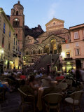 Busy Pavement Cafe at Dusk  with the Cathedral Beyond  Amalfi  Campania  Italy