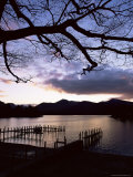 View Across Derwent Water from Lakeside Path at Dusk  Cumbria  England