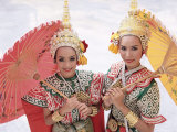 Portrait of Two Dancers in Traditional Thai Classical Dance Costume  Thailand
