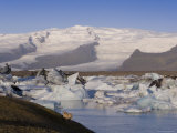 Icebergs Floating in the Lagoon Beneath Breidamerkurjokull Glacier  Southern Area  Iceland