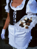 Waitress Carrying Tray of Chocolate  Vilnius  Lithuania  Baltic States  Europe
