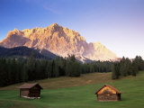Zugspitze and Barns at Dusk  Wetterstein  Austrian Alps  Austria  Europe