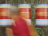 Buddhist Monk Passing Prayer Wheels  Mcleod Ganj  Dharamsala  Himachal Pradesh State  India  Asia