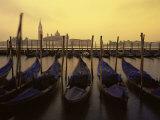 Row of Gondolas at Dawn  San Giorgio Maggiore  Venice  Veneto  Italy  Europe