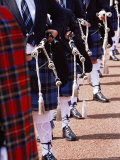 Bagpipe Players with Traditional Scottish Uniform  Glasgow  Scotland  United Kingdom  Europe
