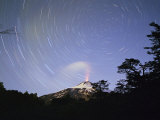 Time Exposure of Steam and Stars  Villarica Volcano  Chile  South America
