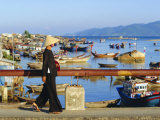 Woman on Xom Bong Bridge  Nha Trang  Vietnam  Asia
