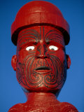 Traditional Maori 'Poupou' Figure  Whakarewarewa Village  Rotorua  New Zealand