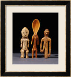 A Lega Bone Figure  a Lega Ivory Spoon and a Pende Bone Whistle