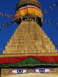 Close up of the Buddhist Stupa at Bodnath (Bodhnath) (Boudhanath)  Kathmandu Valley  Nepal  Asia