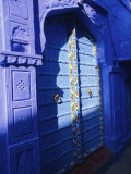 Elaborate Blue Door  the Blue Town of Jodhpur  Rajasthan  India