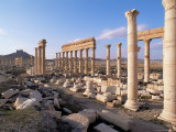 Great Colonnade and the Arab Castle Beyond  Palmyra  Unesco World Heritage Site  Syria  Middle East
