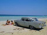 1950s American Car on the Beach  Goanabo  Cuba  Caribbean Sea  Central America