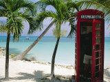 English Telephone Box on the Beach  Dickenson's Bay  North-East Coast  Antigua  West Indies