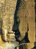 Stone Heads Typifying Cambodia on the Bayon Temple at Angkor Wat  Siem Reap  Cambodia  Asia