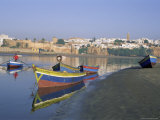 Boats at Sale with the Skyline of the City of Rabat in Background  Morocco  North Africa  Africa
